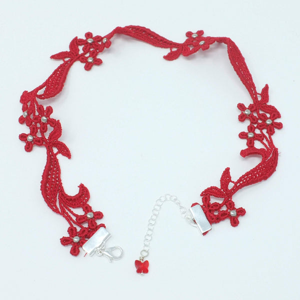 red Lace Necklace with flowers