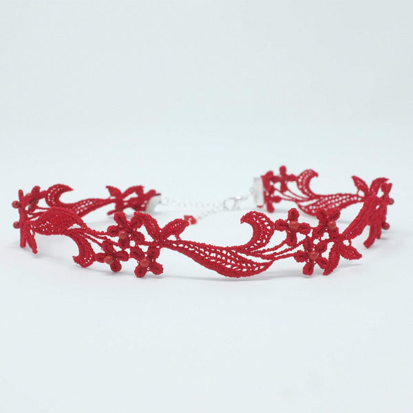 Red Choker with flowers