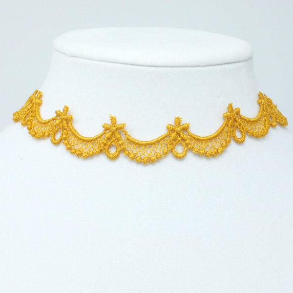 Yellow-Gold Thin Floral Choker