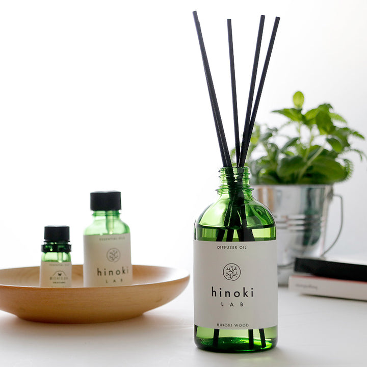 hinokiLAB room fragrance. Diffuser oil and reed sticks