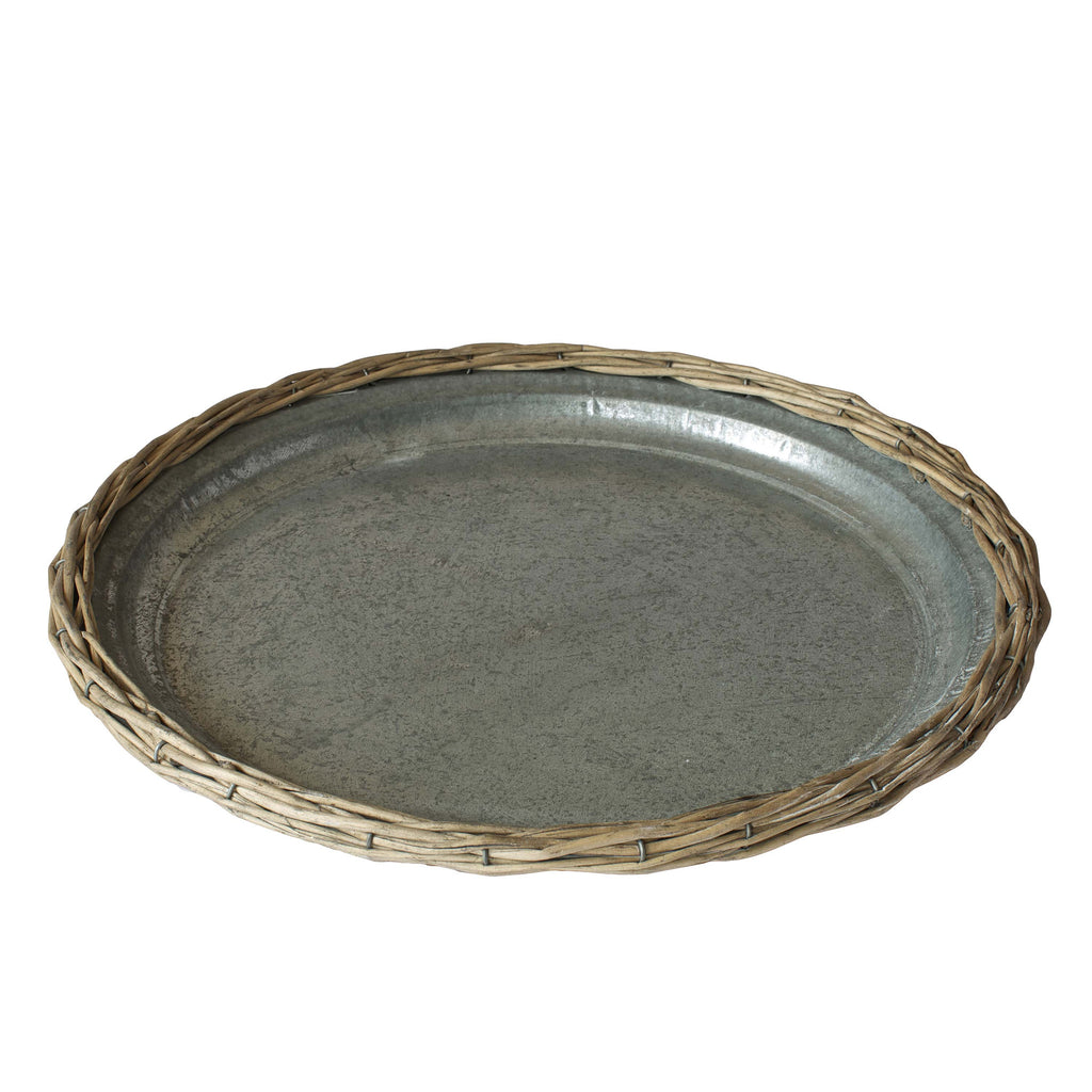 Buy a Rustic Metal Tray with Washed Ash Wicker Edging     Skipperwood