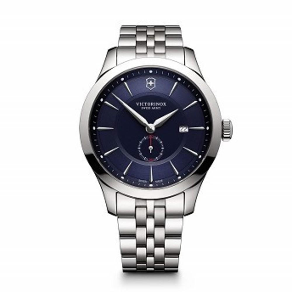 Victorinox Mens 241711 Alliance Analog Display Swiss Quartz Silver Watch Blue Dial