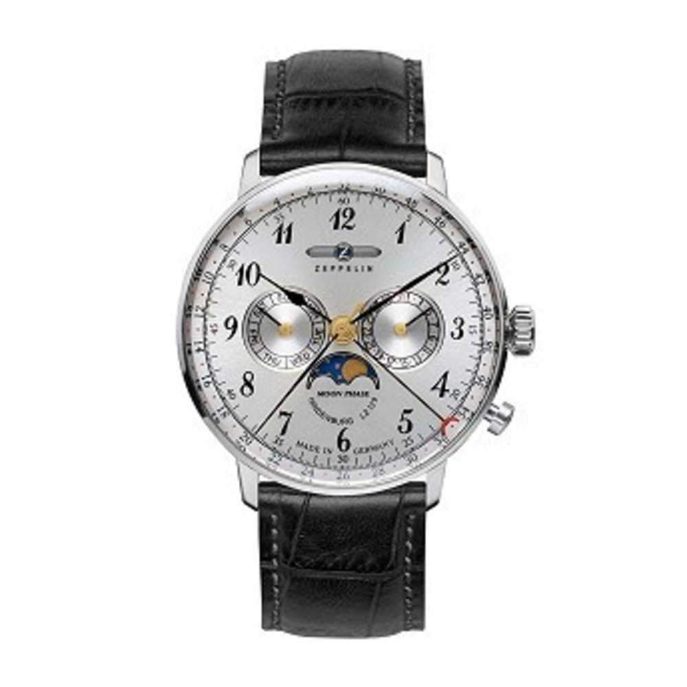 Zeppelin Series LZ129 Hindenburg Mens Multifunction Day/Date Moon Phase Watch Silver with Black Strap 7036-1 One color(ワンカラー)