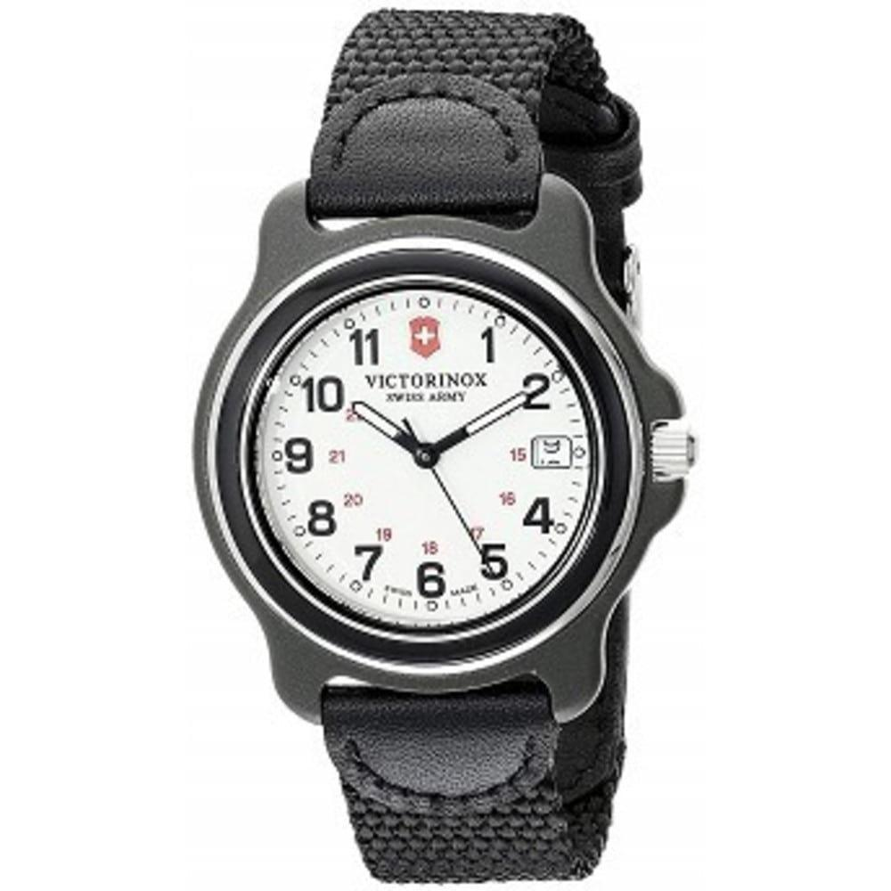 Victorinox Mens 249089 Original Black Watch with Nylon Band ブラックxホワイト