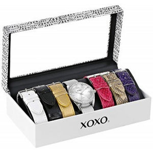 XOXO Womens XO9062 Silver-Tone Watch with Interchangeable Bands One color(ワンカラー)