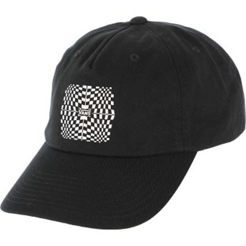 Warped Check Strapback Hat ブラック