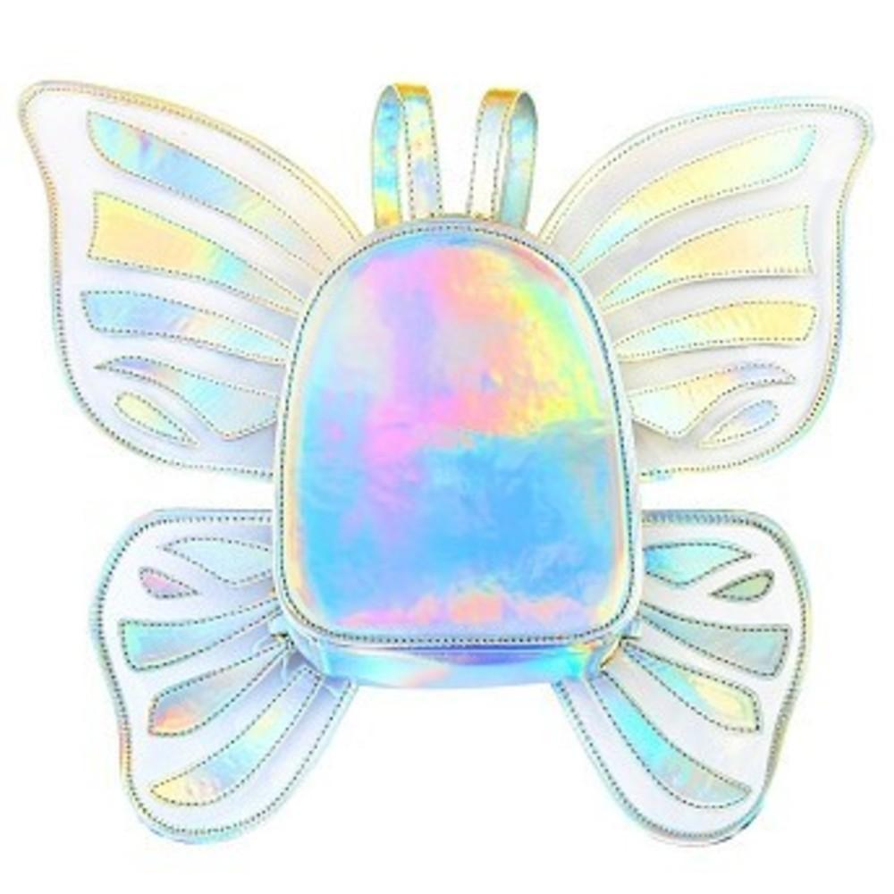 Zicac Womens Laser Holographic Backpack Butterfly Angel Wings Daypack for Girls シルバー