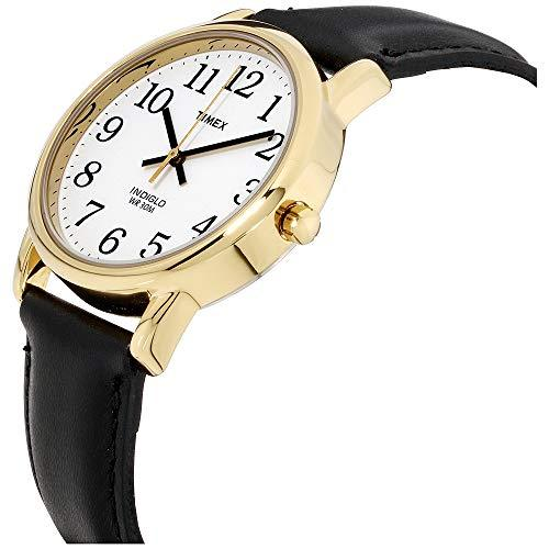 Timex Men's T20491 Easy Reader Gold-Tone Black Leather Watch
