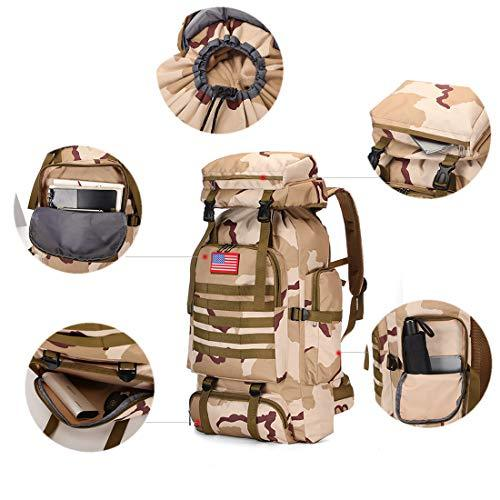 WintMing 70L Large Camping Hiking Backpack Tactical Military Molle Rucksack for Trekking Traveling Oxford Waterproof Mountaineering Pack Large Daypack for Men (Camouflag-A)