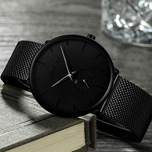 Mens Watches Ultra-thin Minimalist Waterproof-Fashion Wrist Watch for Men Unisex Dress with Stainless Steel Mesh Band-Black Hands