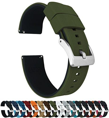 18mm Army Green/Black - Barton Elite Silicone Watch Bands - Quick Release - Choose Strap Color & Width