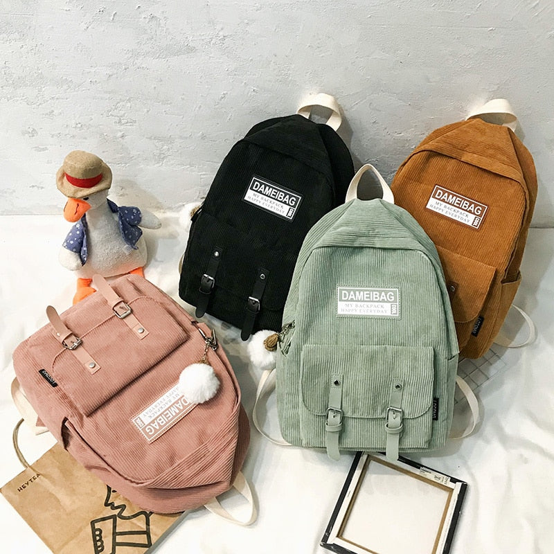 Stripe Cute Corduroy Backpack kawaii Women School Bag Teenage Luxury Girl Backpack Harajuku Female Fashion Bag Student Lady Book