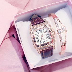 Women Diamond Watch Starry Square Dial Bracelet Watches Set Ladies Leather Band Quartz Wristwatch Female Clock Zegarek Damski