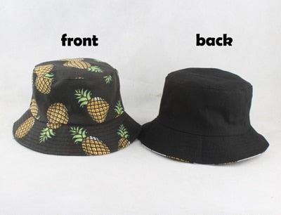 Panama Bucket Hat Men Women Summer Bucket Cap Banana Print Yellow Hat Bob Hat Hip Hop Gorros Fishing Fisherman Hat