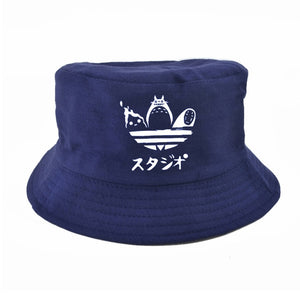 Cartoon Totoro Spirited Away Bucket Hat Summer No Face Faceless cap Panama Cotton Double Layer Fabric Sunscreen Hats