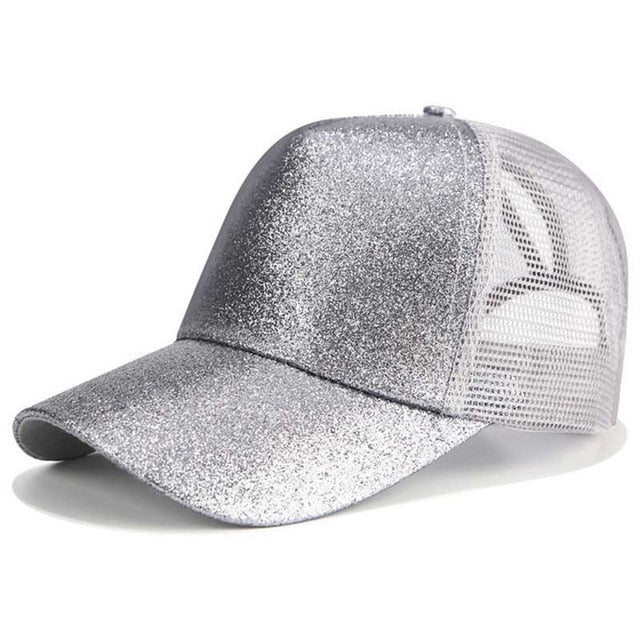 2020 Glitter Ponytail Baseball Cap Women Snapback Dad Hat Mesh Trucker Caps Messy Bun Summer Hat Female Adjustable Hip Hop Hats