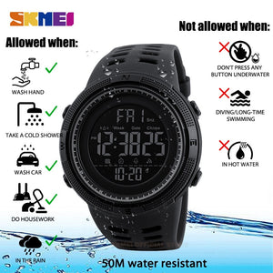 SKMEI Fashion Outdoor Sport Watch Men Multifunction Watches Alarm Clock Chrono 5Bar Waterproof Digital Watch reloj hombre 1251