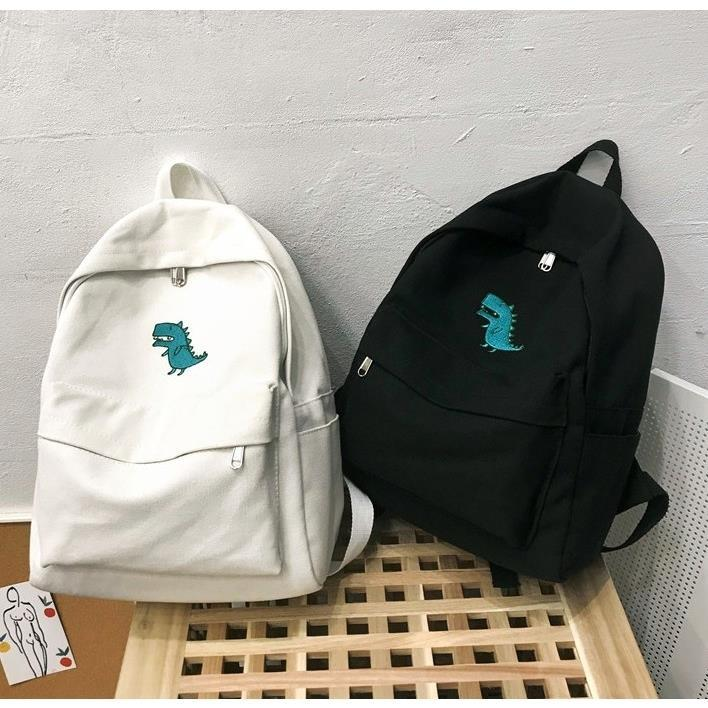 Women's Korean Style Canvas Backpack Fashion Campus Bag Large Capacity Small Dinosaur Printing Backpacks Book Bag Black White