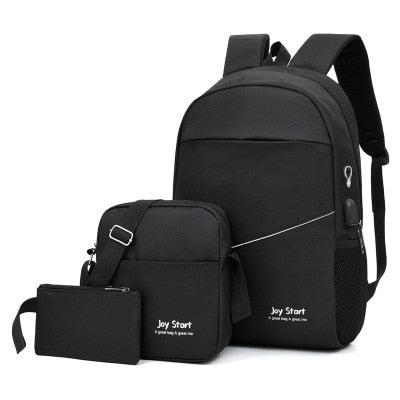 3 pcs USB charging casual backpack fashion men's bag multifunctional backpack Male Leisure Backpack Night Reflective School Bags