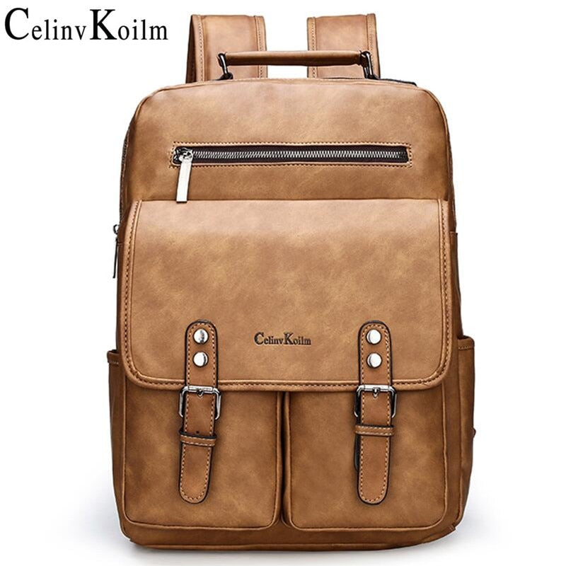Celinv Koilm Brand Anti theft Leather Women Backpack Laptop Travel Backpack Men Waterproof School Backpack bag for Teenager girl