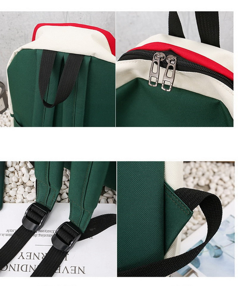 FUNMARDI 4Pcs/Set Panelled Women Backpack Canvas Cat Pattern School Bag For Girl Patchwork Backpack Female Shoulder Bag WLHB2065