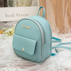 Mini Backpack Women PU Leather Shoulder Bag For Teenage Girls Kids Multi-Function Small Bagpack Female Ladies School Backpack