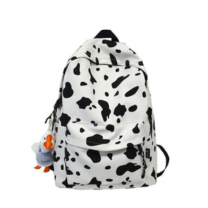 Cute Milk Cow Printing Women's Backpack Canvas Travel Mochila Women School Bag for Teenager Girls Fashion Rucksack Wholesale
