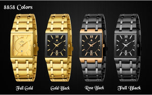 Relogio Masculino WWOOR Gold Watch Men Square Mens Watches Top Brand Luxury Golden Quartz Stainless Steel Waterproof Wrist Watch