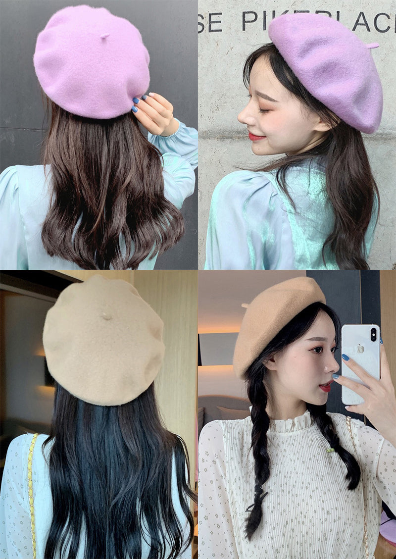 Women Girl Beret French Artist Warm Wool Winter Beanie Hat Cap Vintage Plain Beret Hats Solid Color Elegant Lady Winter Caps