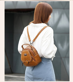 New Harajuku Style All-match Fashion Girl Lady School Bags Solid Color Soft  Leather Ladies Shopping Travel Bags Women Small Bac