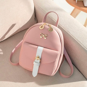 Women's Mini Backpack Luxury PU Leather Kawaii Backpack Cute Graceful Bagpack Small School Bags for Girls Bow-knot Leaf Hollow