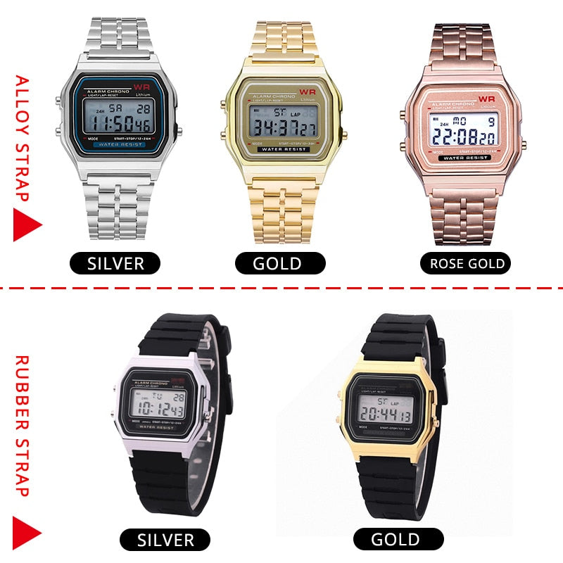 Rose Gold Silver Watches Men Watch Electronic Digital Display Retro Style Clock Men's Relogio Masculin Reloj Hombre homme