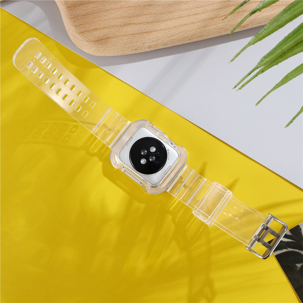 Newest Sport Strap for Apple Watch Band  Series 6 1 2 3 4 5 silicone Transparent  for Iwatch 5 4 Strap 38mm 40mm 42mm 44mm wirst