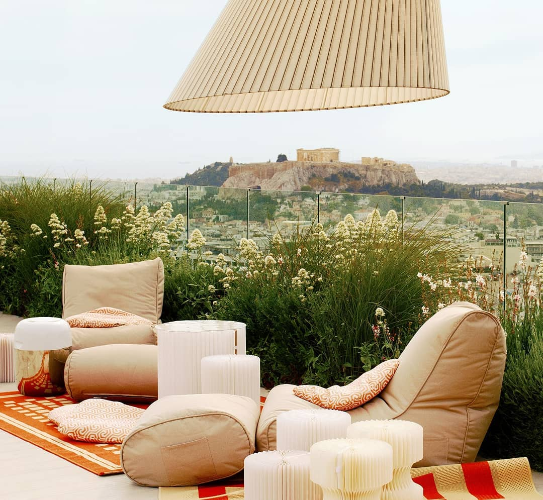 At Peace in Greece - beautiful Boutique Athens Hotel creates an ambient lounge sunset