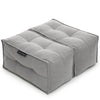 Twin Ottoman - Keystone Grey (with linen)