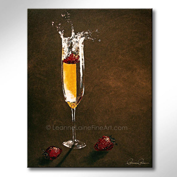 Leanne Laine Fine Art painting of a glass of splashing champagne with dipped strawberries