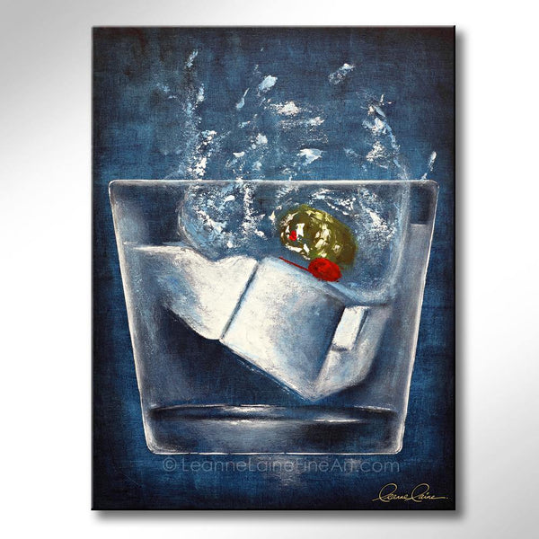 Leanne Laine Fine Art original artist painting of two ice cubes and olive inside a splashing glass of vodka gin