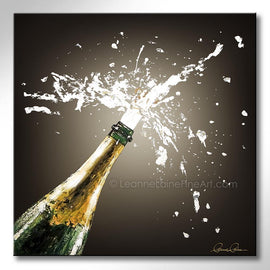 Leanne Laine Fine Art original artist painting of champagne spraying from bottle with cork popping