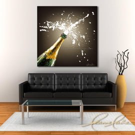 Leanne Laine Fine Art original artist painting displayed above couch of champagne spraying from bottle with cork popping