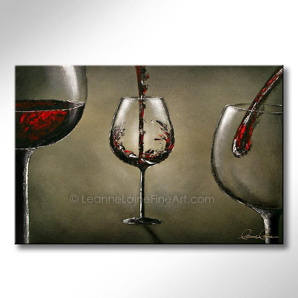Leanne Laine Fine Art original artist painting of red wine splashing and pouring into three glasses