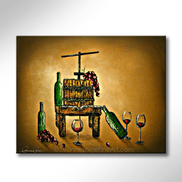 Leanne Laine Fine Art painting of old wine press with grapes red wine and bottles