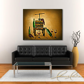Leanne Laine Fine Art painting displayed above black couch of old wine press with grapes red wine and bottles