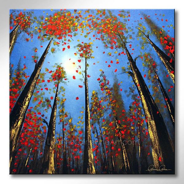 Leanne Laine Fine Art original artist painting of red and yellow fall autumn leaves falling from forest trees