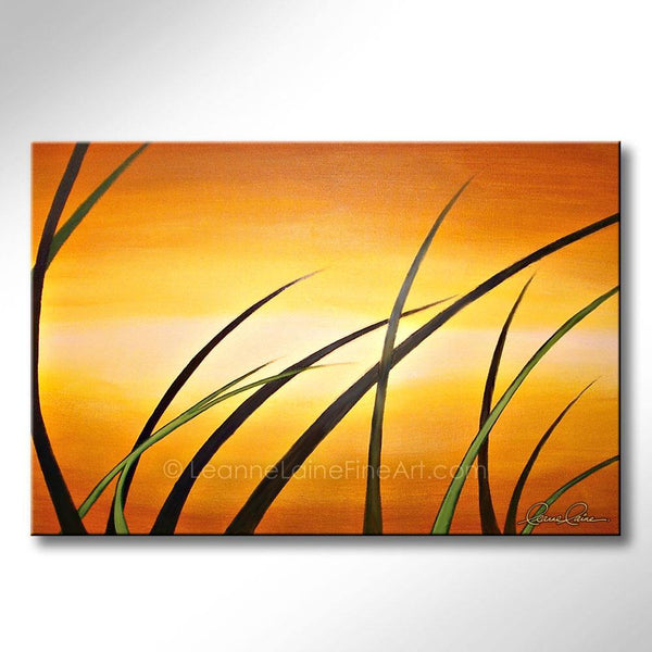 Leanne Laine Fine Art painting of abstract grass landscape against sunrise orange sky