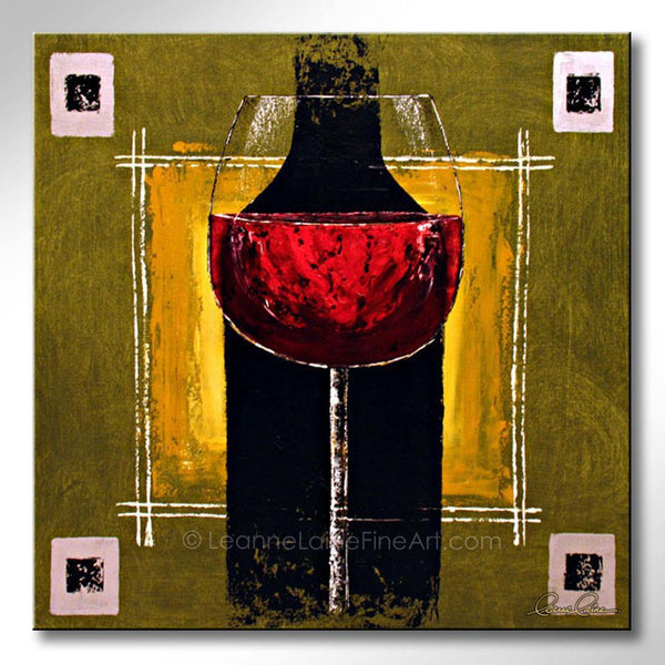 Leanne Laine Fine Art original artist painting of red wine glass in front of black bottle on green yellow background