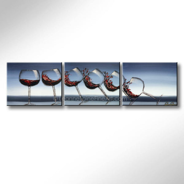 Leanne Laine Fine Art original artist painting of red wine glasses pouring and splashing as they fall over like dominos