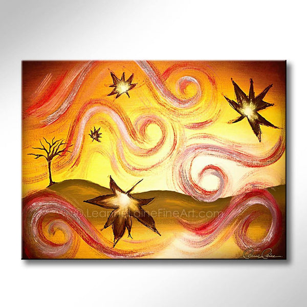 Leanne Laine Fine Art original artist painting of fall autumn leaves blowing colorfully from bare tree