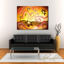 Leanne Laine Fine Art original artist painting displayed above couch of fall autumn leaves blowing colorfully from bare tree