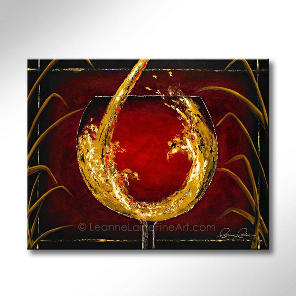 Leanne Laine Fine Art original artist painting of white wine pouring and splashing in glass