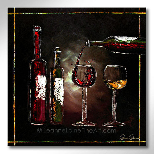 Leanne Laine Fine Art original artist painting of two glasses with bottles  pouring red and white wine